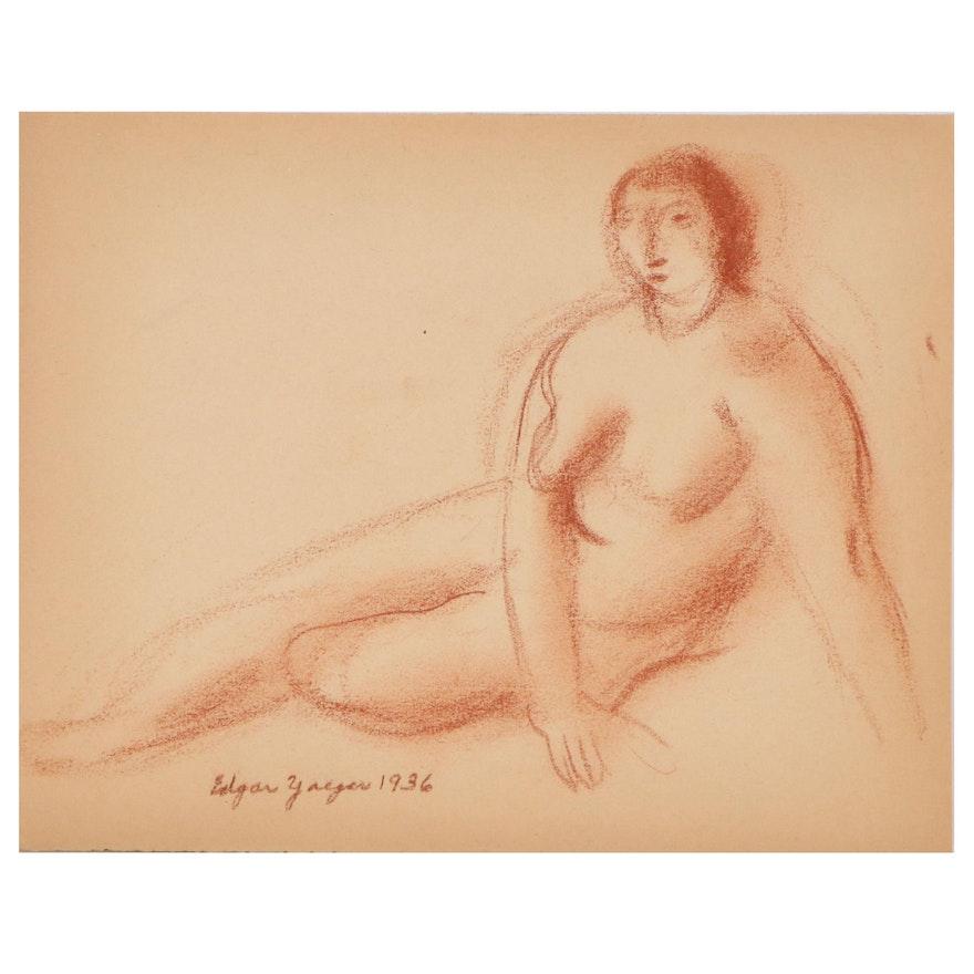 Edgar Yaeger Figural Conté Crayon Drawing, 1936