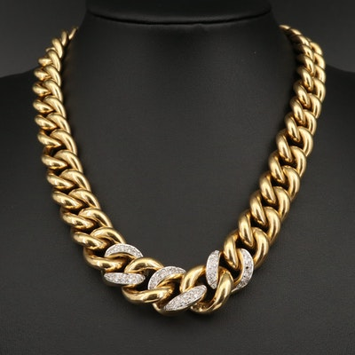 18K Graduated Curb Link Necklace with Diamond Accented Links