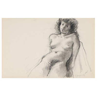 Edgar Yaeger Charcoal Drawing of Seated Female Nude, 1971
