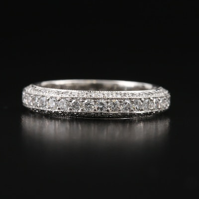 Platinum 1.47 CTW Diamond Beveled Edge Eternity Band