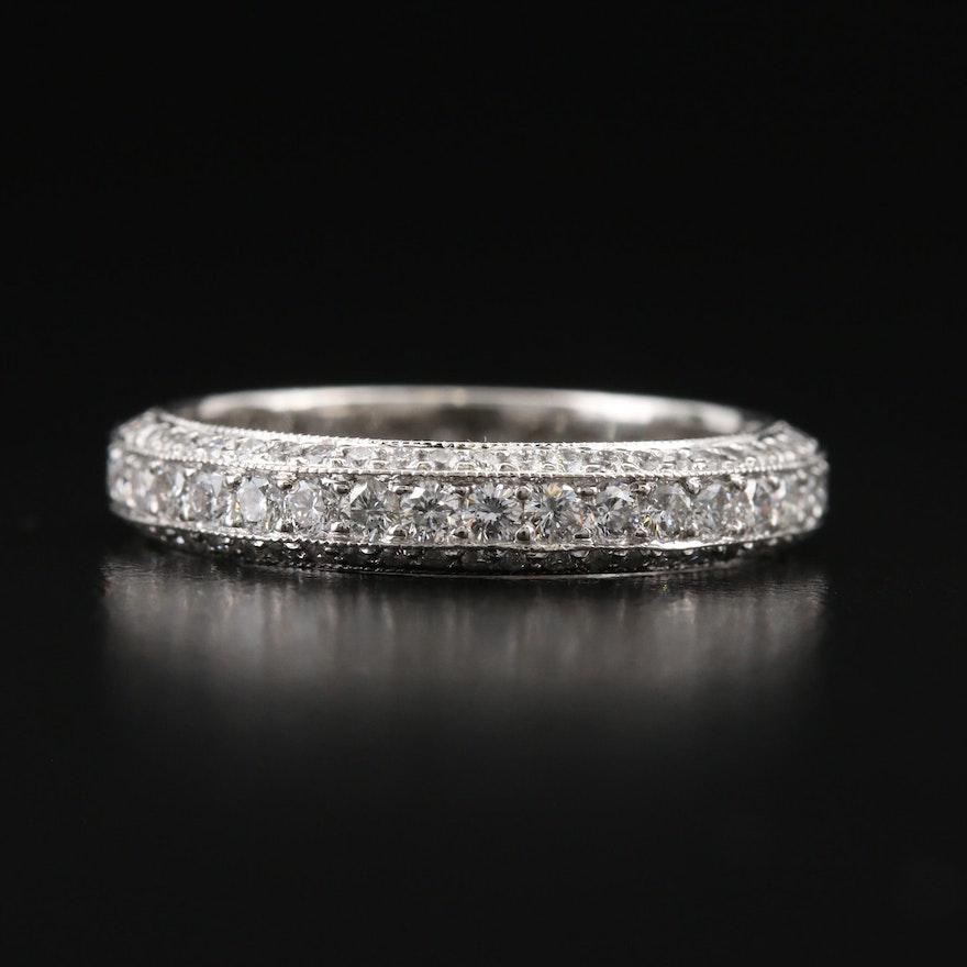 Platinum 1.47 CTW Diamond Beveled Edge Eternity Band