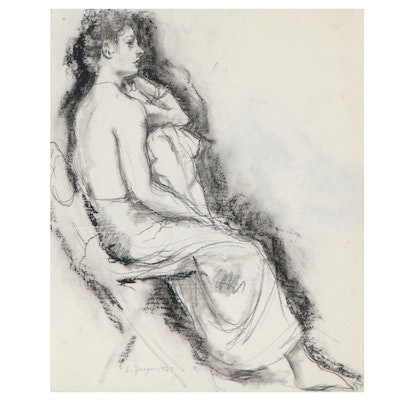 Edgar Yaeger Double-Sided Figural Charcoal Drawing, 1967