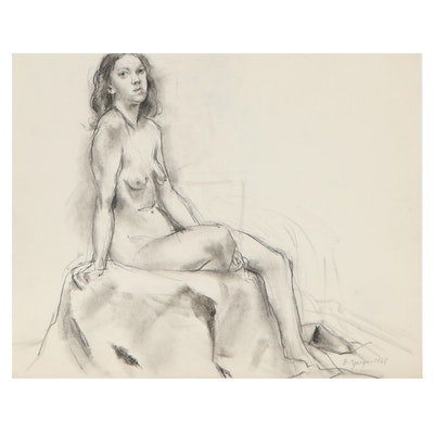 Edgar Yaeger Figural Charcoal Drawing, 1968
