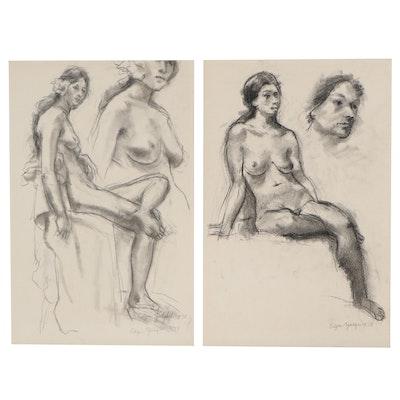 Edgar Yaeger Charcoal Studies of Seated Women, 1978