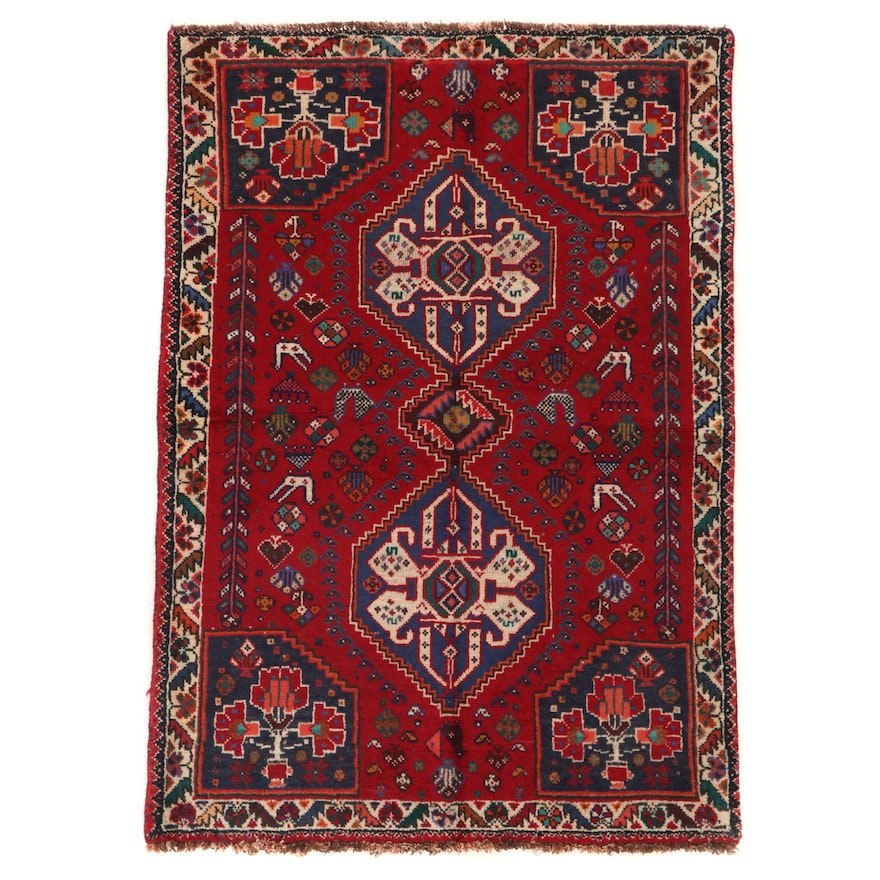 3'9 x 5'3 Hand-Knotted Persian Qashqai Wool Area Rug