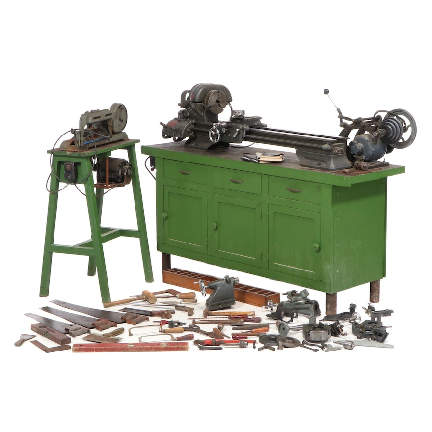 Atlas Lathe, Workbench and Craftsman Table Saw with Various Hand Tools
