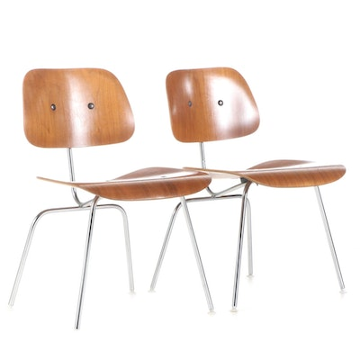 "Pair of Charles and Ray Eames for Herman Miller Walnut and Steel ""DCM"" Chairs"
