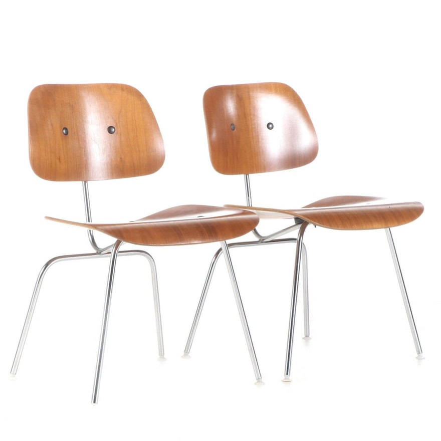 """Pair of Charles and Ray Eames for Herman Miller Walnut and Steel """"DCM"""" Chairs"""