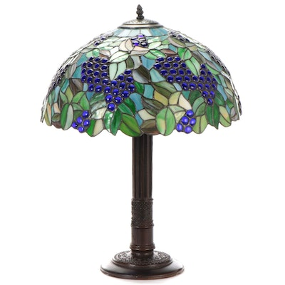 Tiffany Style Slag Glass and Jeweled Grape Motif Table Lamp