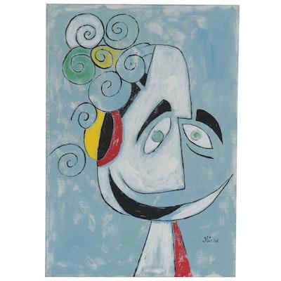 Eduardo Oliva Abstract Figure Acrylic Painting, 1989