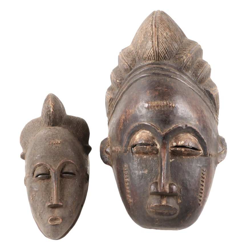 Baule-Yaure Style Handcrafted Wood Masks, West Africa