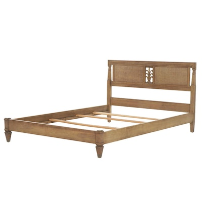 Mediterranean Style Pecan-Finish and Caned Twin Bed Frame