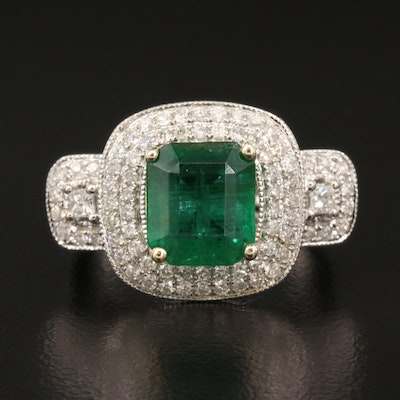 14K 2.18 CT Emerald and Diamond Ring