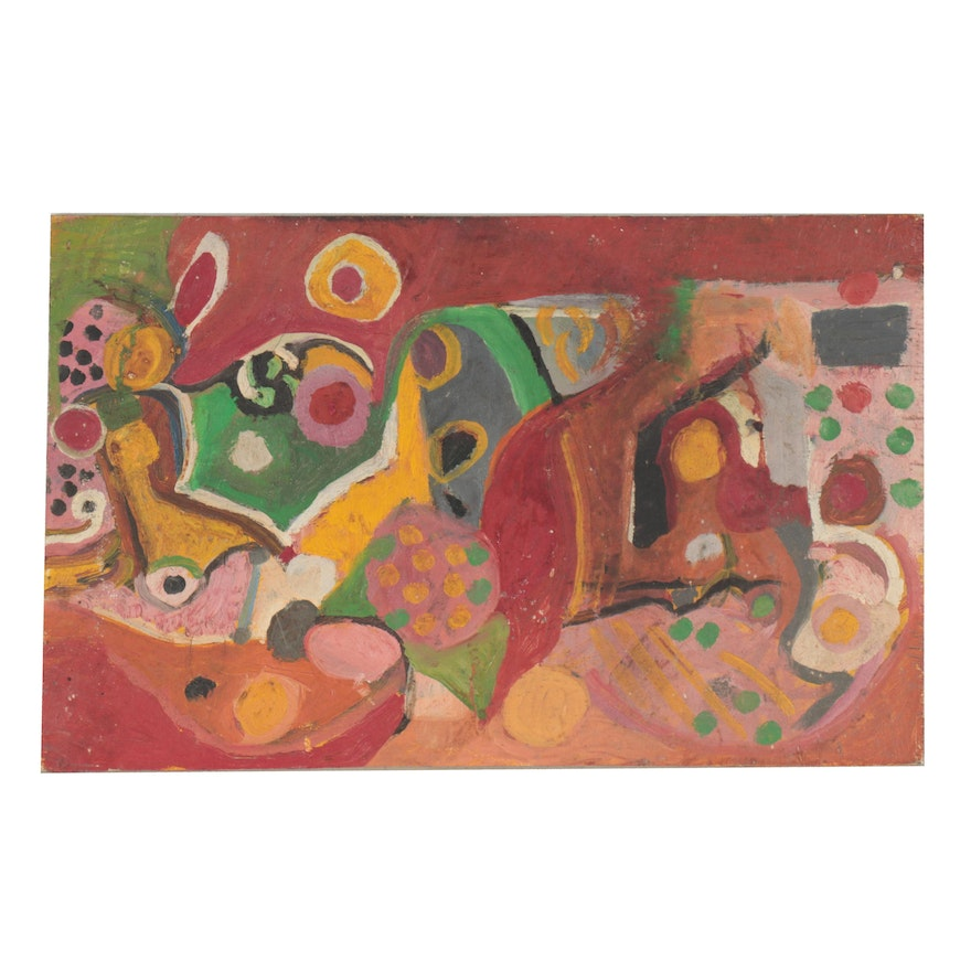 Chuck Barr Abstract Oil Painting, Late 20th Century
