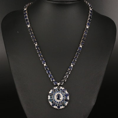 14K 42.00 CTW Sapphire and 2.10 CTW Diamond Pendant Necklace