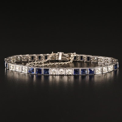 Art Deco 18K 2.85 CTW Diamond and Sapphire Bracelet