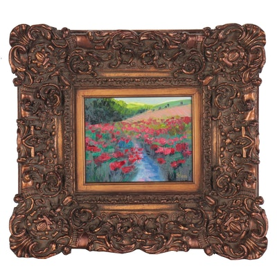 "Thea Mamukelashvili Landscape Oil Painting ""Poppy Field,"" 2021"