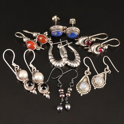 Sterling Earrings Featuring Pearls, Garnets and Lapis Lazuli