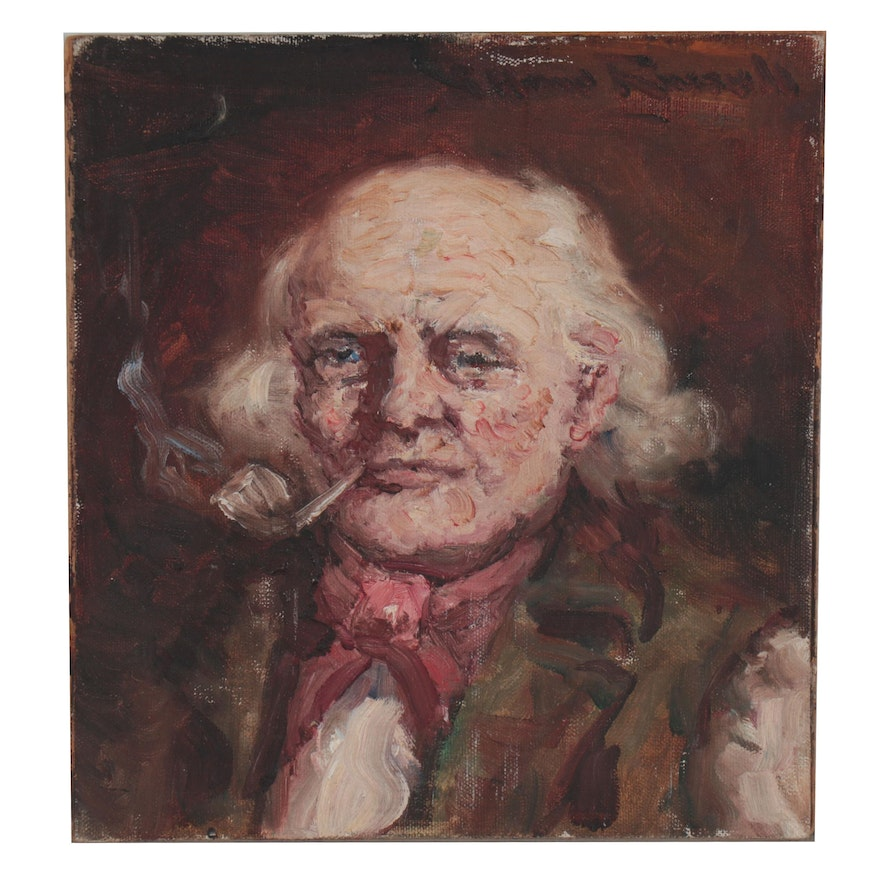 Oil Painting of Man Smoking Pipe, Early to Mid 20th Century