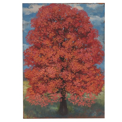 Frank Trapp Landscape Oil Painting of Tree in Autumn