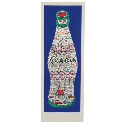Howard Finster Serigraph of Coca-Cola Bottle, Late 20th Century