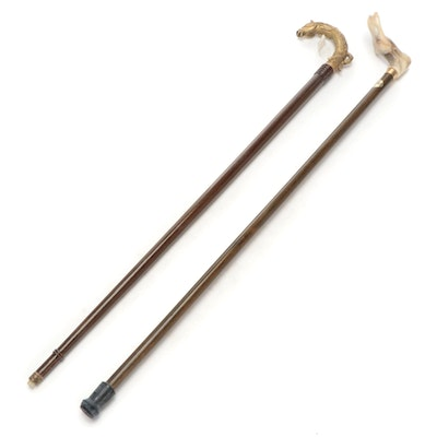 Brass Equestrian Handled Cane with Coopers Contoured Palm-Grip Cane