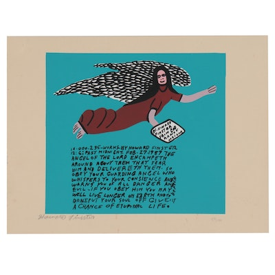 Howard Finster Serigraph of Flying Angel, Late 20th Century
