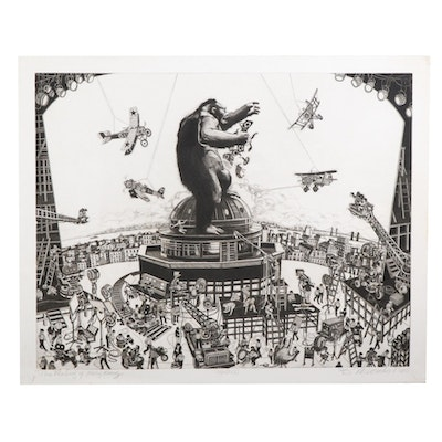 """Bruce McCombs Etching with Aquatint """"The Making of King Kong,"""" 1989"""