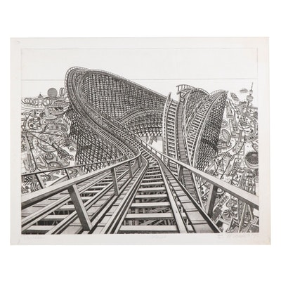 """Bruce McCombs Etching with Aquatint """"Thriller,"""" 1987"""