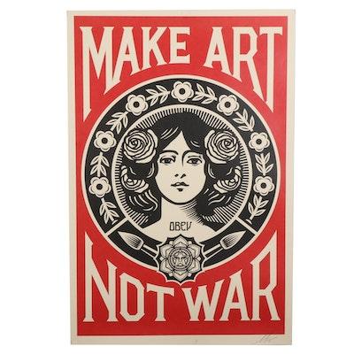 """Shepard Fairey Offset Print Poster """"Make Art Not War,"""" 2021"""