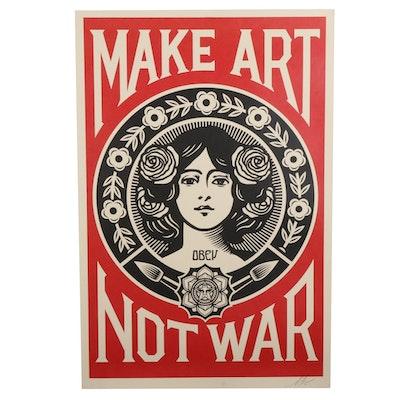 """Shepard Fairey Offset Print Poster """"Make Art, Not War,"""" 2021"""