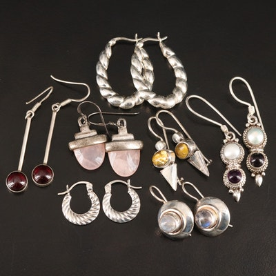 Sterling Earrings Featuring Rose Quartz, Garnets and Pearls
