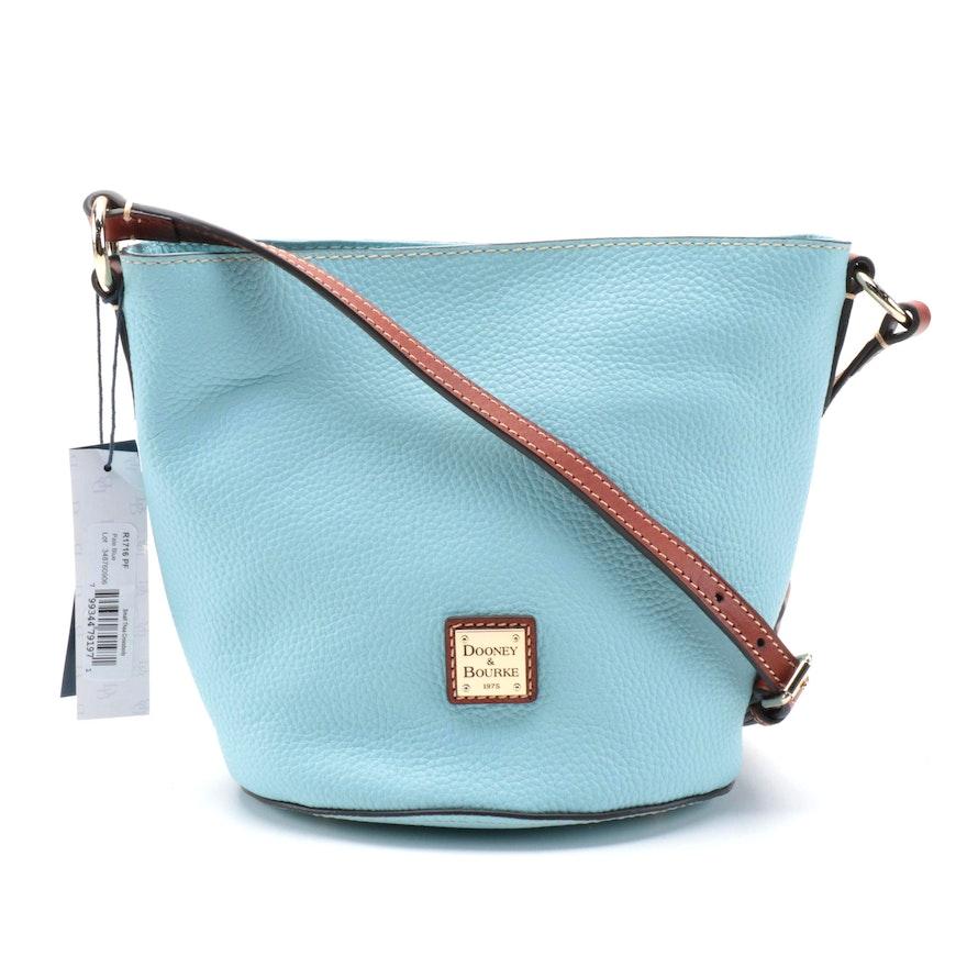 Dooney & Bourke Pale Blue Pebble Grain and Brown Leather Bucket Bag
