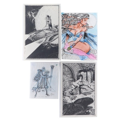 Allen Freemen Limited Edition, and Gary Barker Drawings, Sketches, 1990s