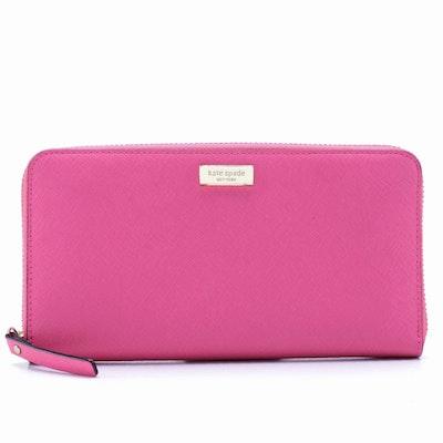 Kate Spade Newbury Lane Neda Pink Saffiano Leather Zip Wallet