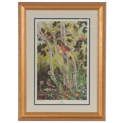 "Sallie Middleton Offset Lithograph ""Robin,"" circa 1971"