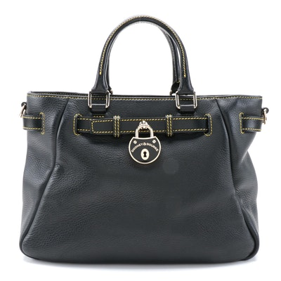Dooney & Bourke Two-Way Satchel in Black Pebbled Leather with Contrast Stitching