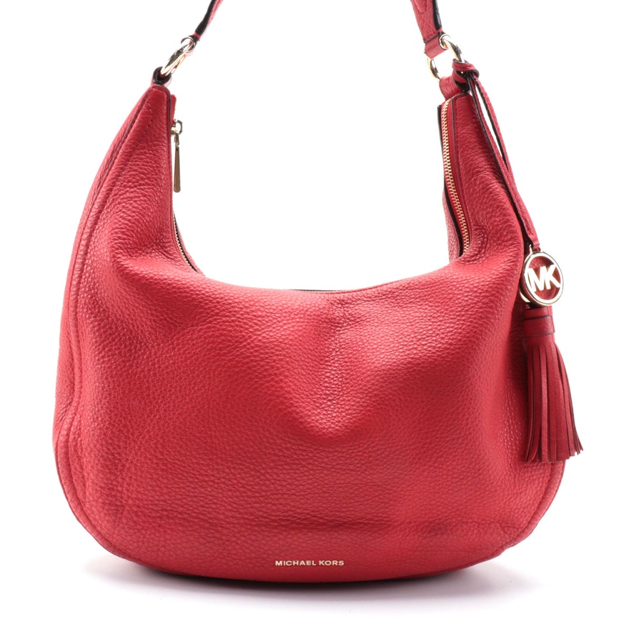 Michael Kors Lydia Hobo Bag in Red Pebbled Leather with Tassel