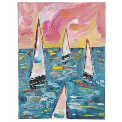 "Patricia Nolan-Brown Oil Painting ""Sailing at Sunset,"" 2021"