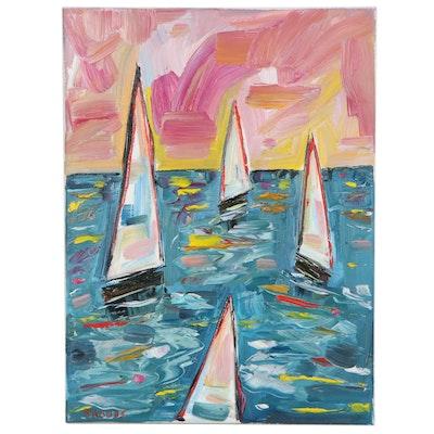 "Patricia Nolan-Brown Oil Painting ""Sailing at Sunset,"" 2021"
