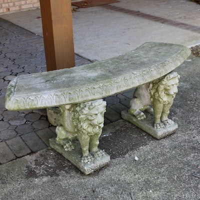 Concrete Winged Lion Form Outdoor Bench