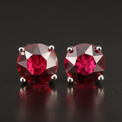 Sterling Round Faceted Garnet Stud Earrings