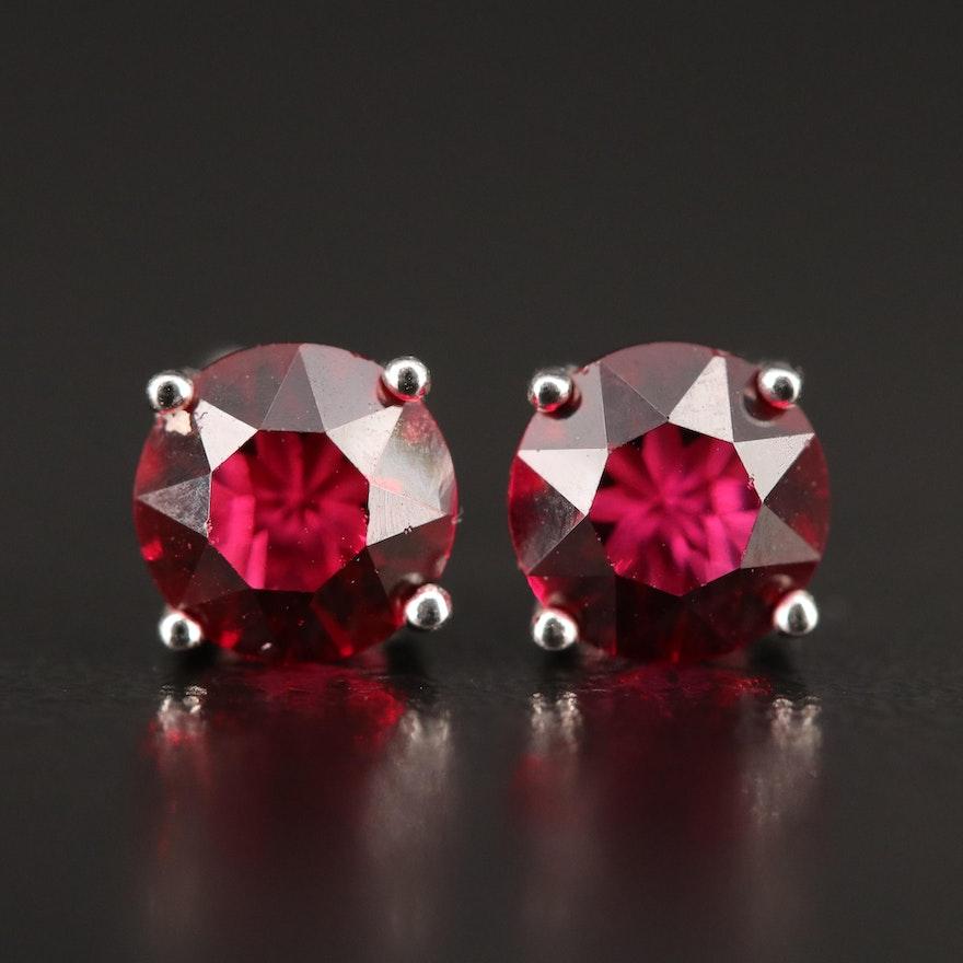 Sterling Round Faceted Garnet Stud Earrings