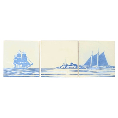 Paul Bogatay Hand-Painted Nautical Themed Ceramic Tiles
