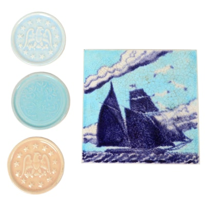 "Paul Bogatay Studio Pottery Coasters and Hand-Painted Tile ""Marblehead"""