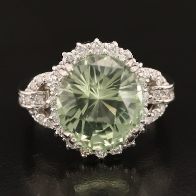 14K 10.07 CT Tourmaline and Diamond Halo Ring