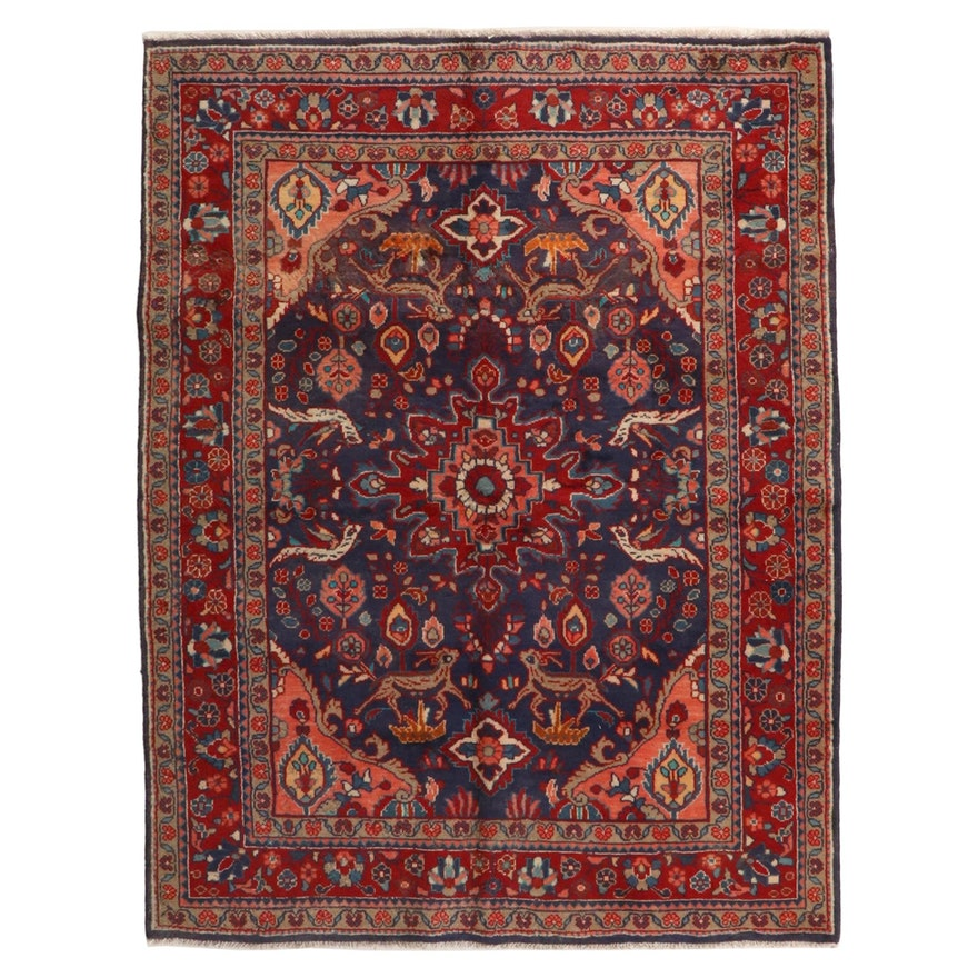 5'5 x 7'3 Hand-Knotted Persian Malayer Wool Area Rug