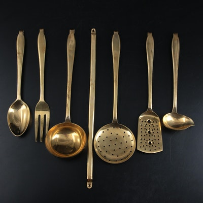 Brass Serving Utensils and Wall Hanger