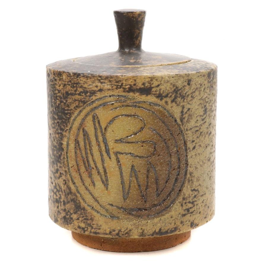 Paul Bogatay Studio Pottery Incised Lidded Jar, 1963