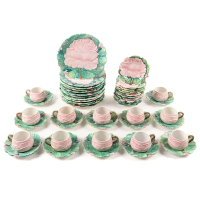 "Ugo Zaccagnini for Walter Hatches Inc. ""Pink Rose"" Majolica Dinnerware"